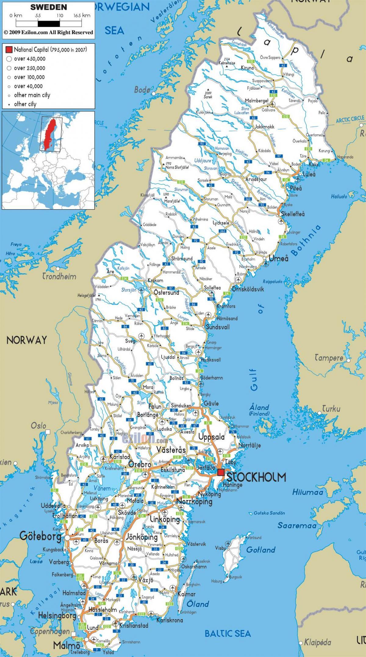 Shveciya Dorozhnaya Karta Dorozhnaya Karta Shvecii Severnaya Evropa